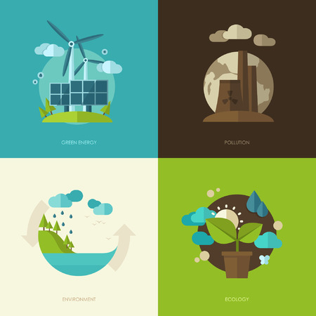 Illustration pour Set of vector flat design concept illustrations with icons of ecology, environment, green energy and pollution - image libre de droit