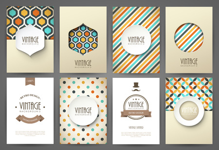 Illustration for Set of brochures in vintage style. Vector design templates. Vintage frames and backgrounds. - Royalty Free Image