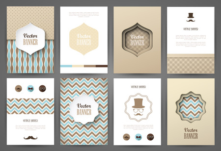 Illustration pour Set of brochures in vintage style. Vector design templates. Vintage frames and backgrounds. - image libre de droit
