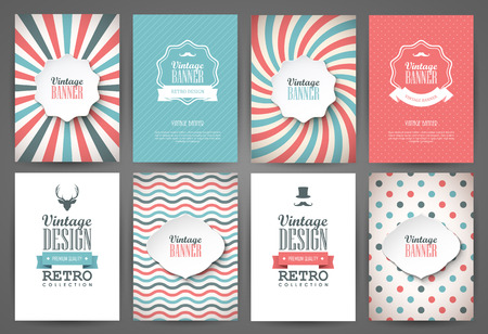 Photo pour Set of brochures in vintage style. Vector design templates. Vintage frames and backgrounds. - image libre de droit