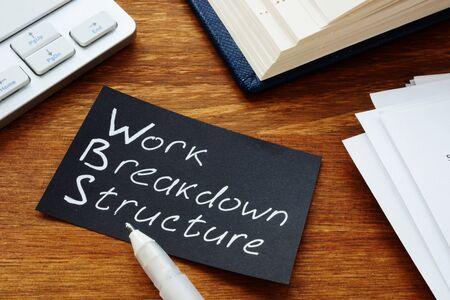 Foto de Text sign showing hand written words Work breakdown structure - Imagen libre de derechos