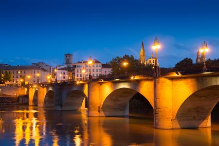 Photo for Evening view of Logrono. Puente da Piedra over Ebro. La Rioja, Spain - Royalty Free Image
