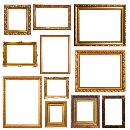 Photo pour Old gold picture  frames. Isolated on white - image libre de droit