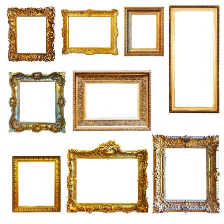 Foto de Set of vintage gold picture frames on white background - Imagen libre de derechos