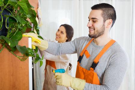 Photo pour Cleaning premises team is ready to work - image libre de droit