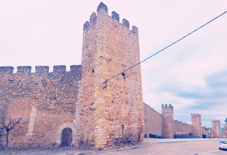 Photo for  Fortress walls of Monblanc city at cloudy day in Catalonia  - Royalty Free Image