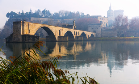Photo for Pont Saint-Benezet and Avignon Cathedral in winter morning, France - Royalty Free Image