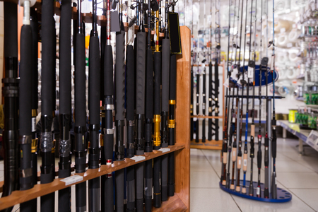 Picture of new excellent fishing rods for fishing in the sports shop