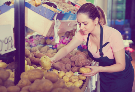 Photo for Young  smiling female seller putting fresh goods on shelves in greengrocery - Royalty Free Image