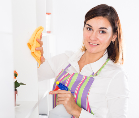 Photo pour Young housewife working productively on cleaning house - image libre de droit