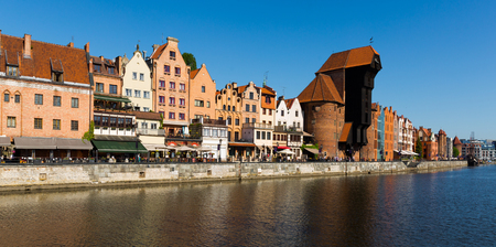 Photo for Image of  embankment in historical part of Gdansk at sunny day, Poland - Royalty Free Image