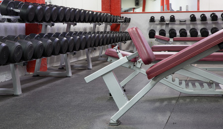 Photo for View of fitness machines and weight gear in training room - Royalty Free Image