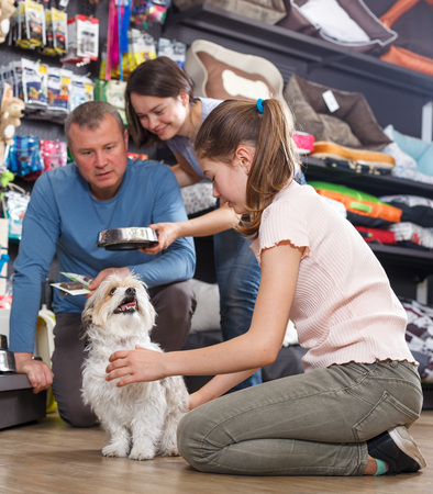 Foto de Portrait of cheerful preteen girl with havanese pup while shopping with parents in pet store - Imagen libre de derechos