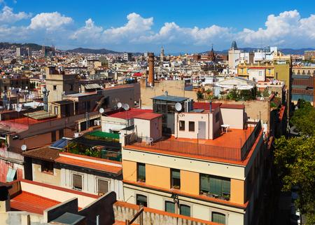 Foto de Day view of Barcelona with Sagrada Familia  from Santa Maria del mar. Catalonia, Spain - Imagen libre de derechos