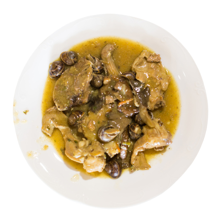 Photo for serving of dish with rabbit and snails on plate. Isolated over white background - Royalty Free Image