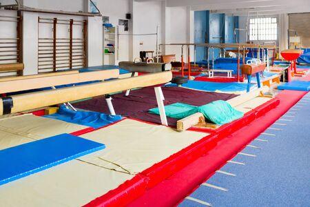 Foto de Various new gymnastic equipment at acrobatic center - Imagen libre de derechos