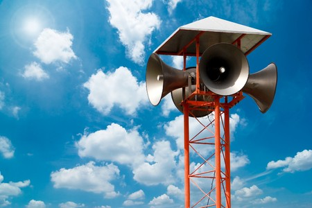 Photo for Lots of loudspeakers on a tall  - Royalty Free Image