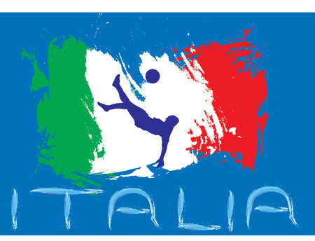 Italy football with flag and Blue Background