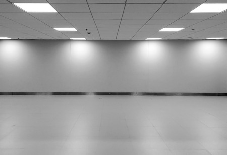 Photo pour Perspective view of Empty Space Classic Monotone Black White Office Room with Row Ceiling LED Light Lamps and Lights Shade on Wall for Gallery Interior / Template to Mock Up Display Office Furniture - image libre de droit