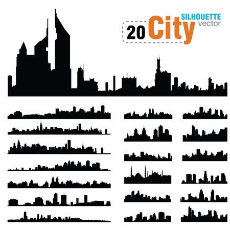 Illustration pour Vector silhouettes of the worlds city skylines - image libre de droit