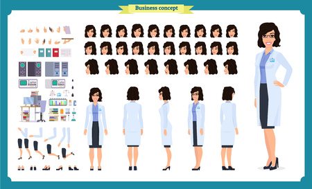 Illustrazione per Scientist character creation set. Woman works in science laboratory at experiments. Full length, different views, emotions, gestures. Build your own design. Cartoon flat style infographic illustration - Immagini Royalty Free