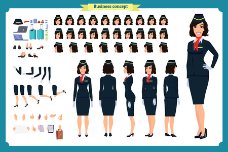 Illustration pour Woman character creation set. The stewardess, flight attendant. Icons with different types of faces and hair style, emotions, front, rear side. Vector flat illustration - image libre de droit