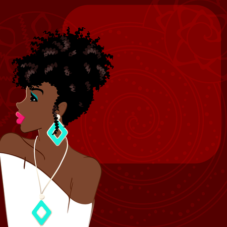 Ilustración de Illustration of a beautiful, dark-skinned woman with natural hair against a dark red background. Graphics are grouped and in several layers for easy editing. The file can be scaled to any size. - Imagen libre de derechos