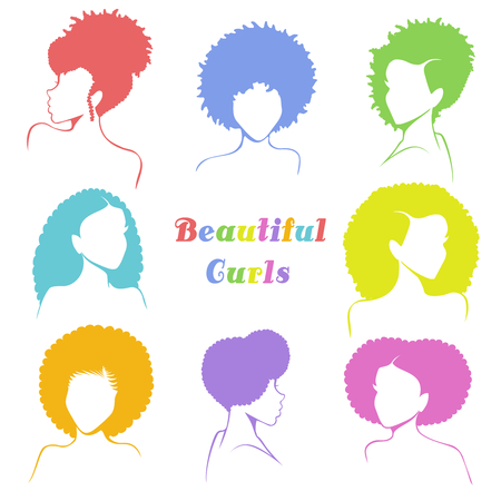 Ilustración de Set of 8 stylized busts of women with natural curly hair. Graphics are grouped and in several layers for easy editing. The file can be scaled to any size. - Imagen libre de derechos