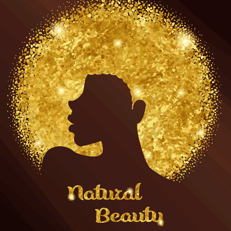 Ilustración de Elegant gold and bronze design with silhouette of a black woman with natural hair. Graphics are grouped and in several layers for easy editing. The file can be scaled to any size. - Imagen libre de derechos