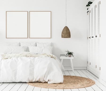 Photo for Mock-up poster frame in a bedroom, Scandinavian style, 3d render - Royalty Free Image