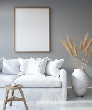 Foto de Bohemian style living room, 3D render - Imagen libre de derechos