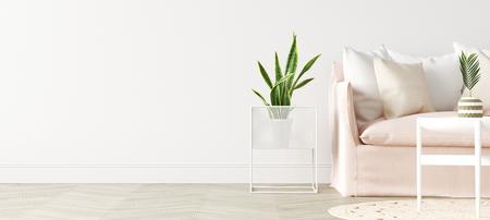 Photo pour Modern interior background, wall mock up, 3d render - image libre de droit
