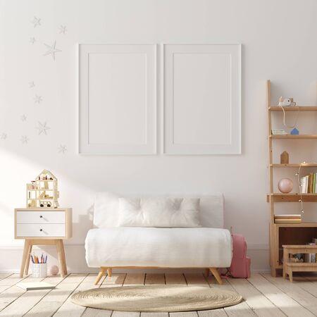 Photo pour Mock up poster, wall in children bedroom interior background, Scandinavian style, 3D render - image libre de droit