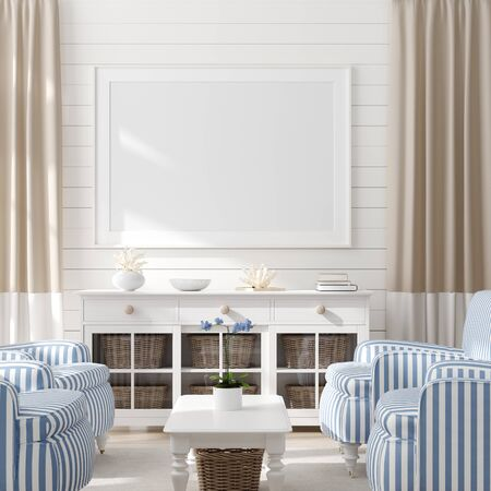 Photo for Mock up frame in home interior background, coastal style living room with marine decor, 3d render - Royalty Free Image