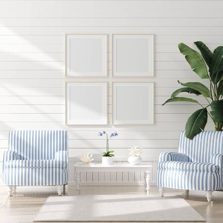 Foto de Mock up frame in home interior background, coastal style living room with marine decor, 3d render - Imagen libre de derechos