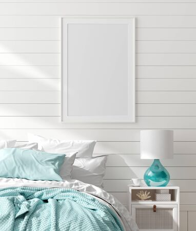 Photo pour Mock up frame in bedroom interior, marine room with sea decor and furniture, Coastal style, 3d render - image libre de droit