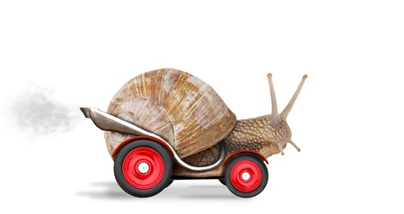 Foto de Speedy snail like car racer. Concept of speed and success. Wheels are blur because of moving. Isolated on white background  - Imagen libre de derechos
