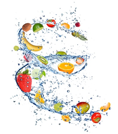 Photo pour Red and green apple in water splash - image libre de droit