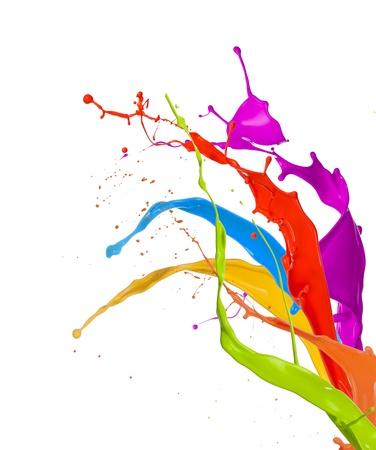 Photo pour  Colored paint splashes bouquet isolated on white background - image libre de droit