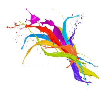 Foto de  Colored paint splashes bouquet isolated on white background - Imagen libre de derechos