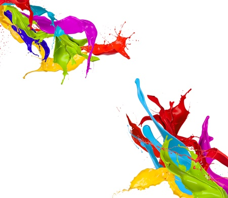 Photo for  Colored paint splashes isolated on white background - Royalty Free Image
