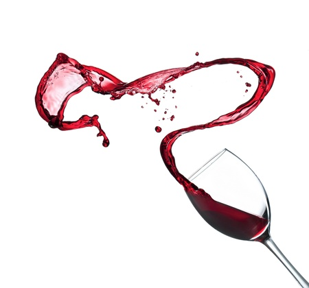 Photo pour Red wine splashing from glass, isolated on white background - image libre de droit