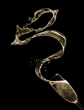 Photo for Glass of champagne with splash, isolated on black - Royalty Free Image