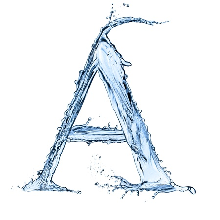 Photo pour Water splashes letter A isolated on black background - image libre de droit