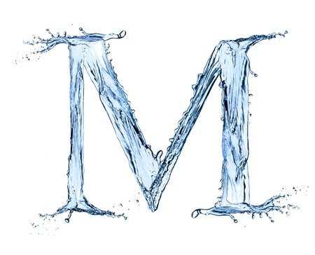 Photo pour Water splashes letter M isolated on black background - image libre de droit