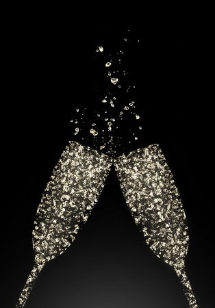 Photo pour Glasses of champagne made of bubbles, isolated on black background - image libre de droit