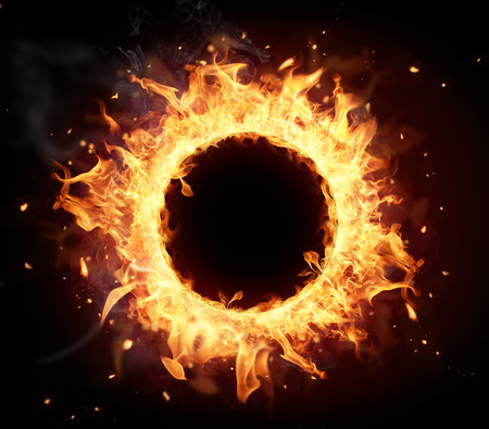 Foto de Fire circle with free space for text  isolated on black background - Imagen libre de derechos