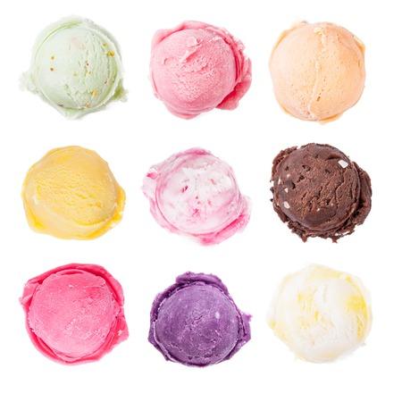 Photo pour Studio shot of isolated ice cream scoops on white - image libre de droit