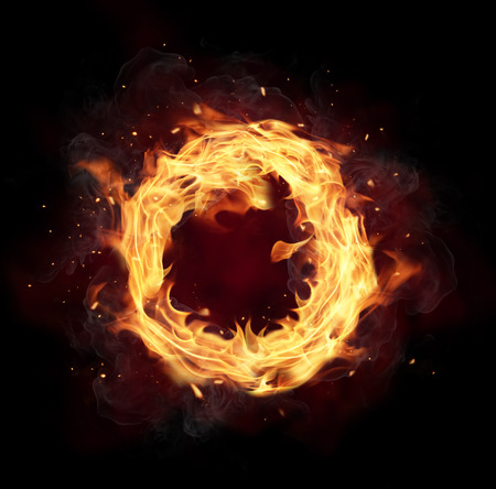 Photo pour Fire circle with free space for text. isolated on black background - image libre de droit
