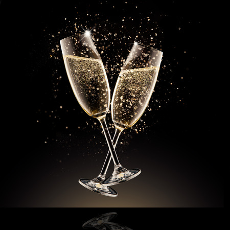 Photo pour Celebration theme. Glasses of champagne with bubbles, isolated on black background - image libre de droit